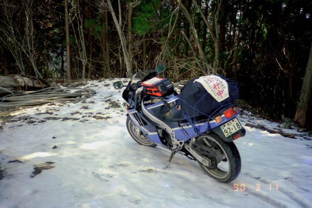 雪が残る国道439号線