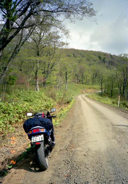 砂利道の国道338号線