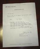 ユナイテッド航空の予約証明書