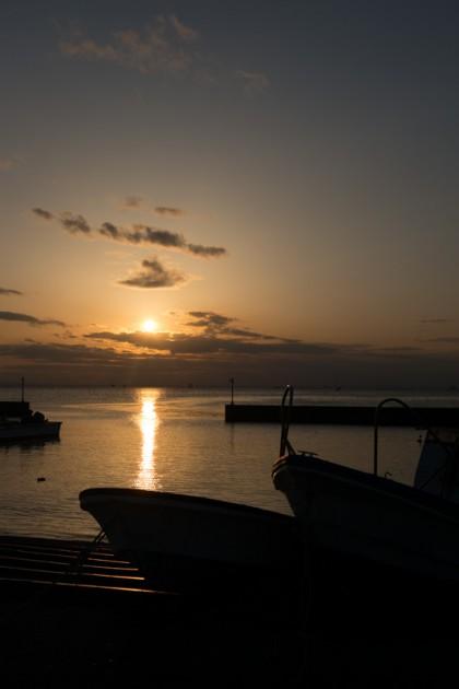 江川漁港の夕焼け