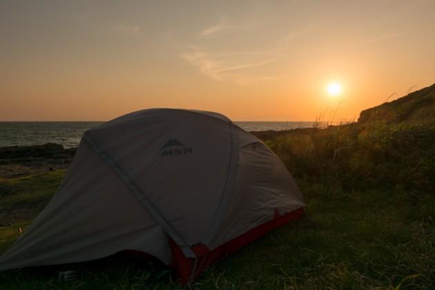 三浦半島でキャンプ・テントは3人用のMSR エリクサー3