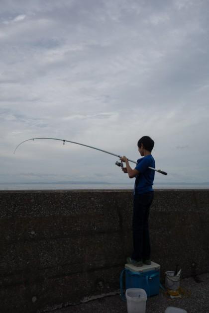 福浦岸壁で大サバ釣り