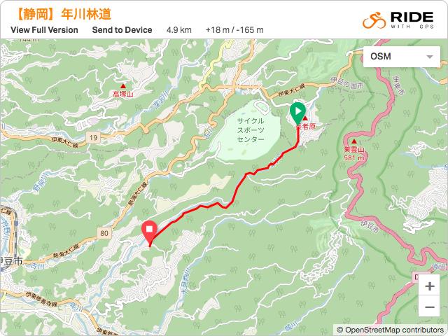 静岡【年川林道】のルート地図