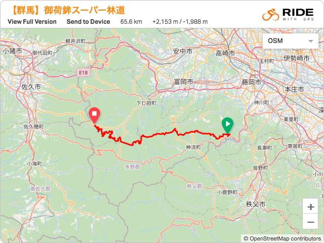 群馬【御荷鉾スーパー林道】のルート地図