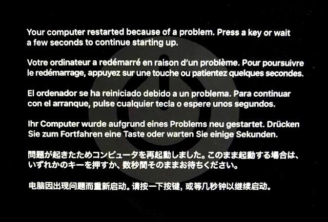 MACカーネルパニックの画面