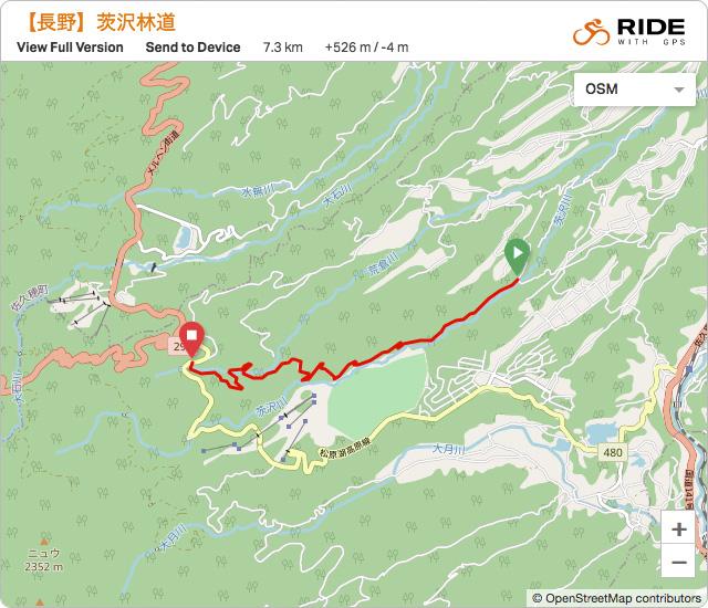 長野【茨沢林道】のルート地図