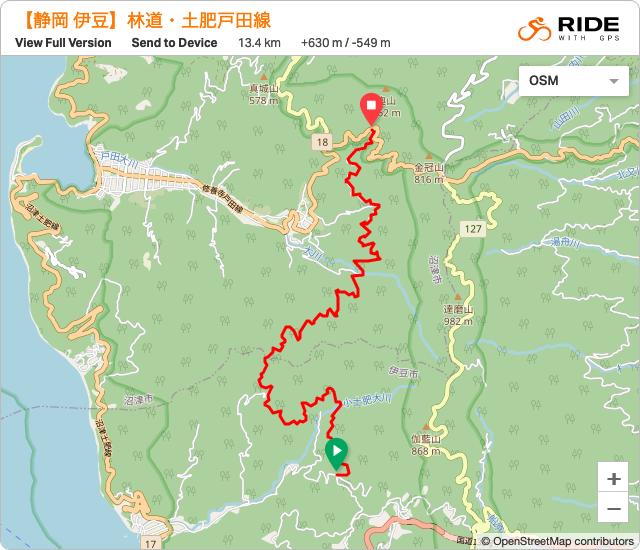 静岡・伊豆林道・土肥戸田線のルート地図・GPSデータ