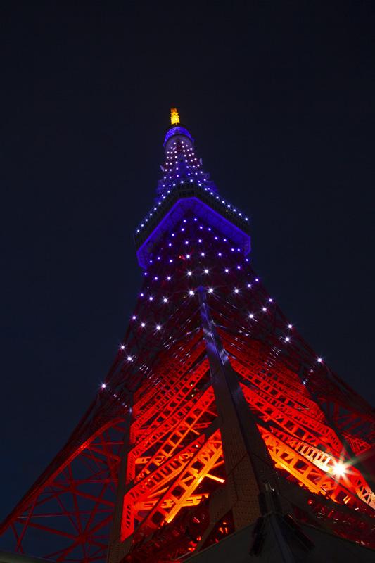 6月藤色にライトアップされた東京タワー