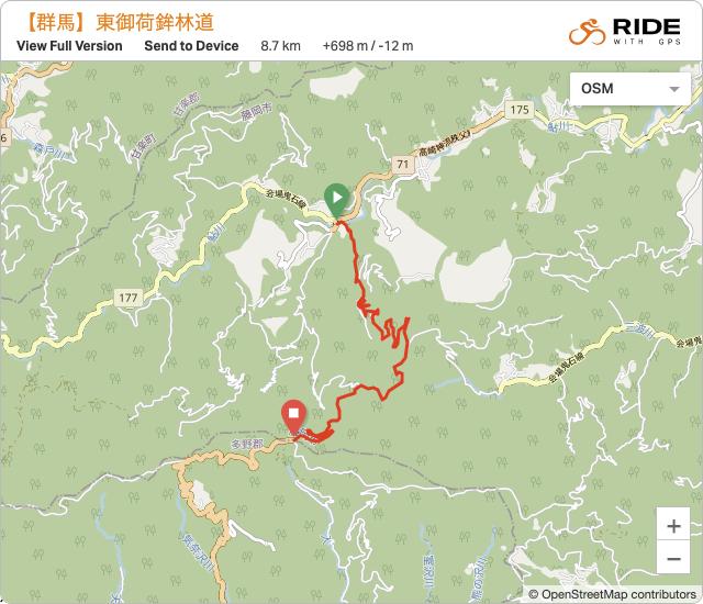群馬【林道・東御荷鉾線】のルート地図