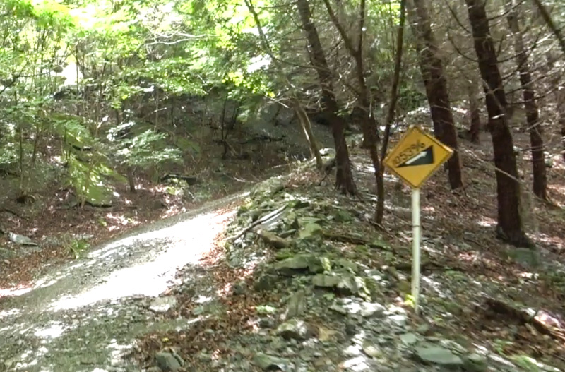 林道・東御荷鉾線の勾配の看板