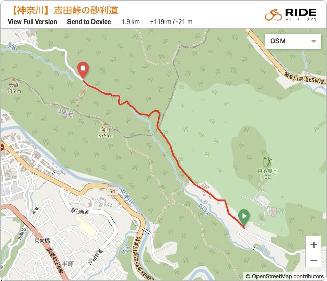 志田峠の砂利道の地図