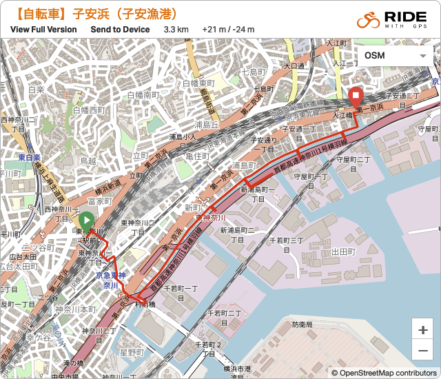 子安浜の取り残された風景を訪ねるサイクリングの地図